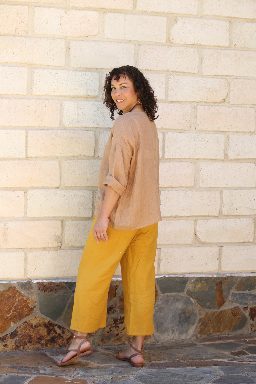 Linen Woman's Top Taupe