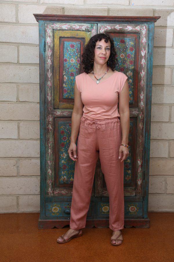 Linen Pants Coral Pink