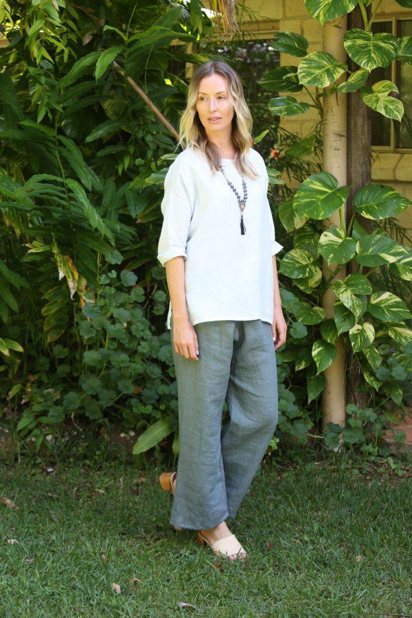 Linen Pant Mid Blue