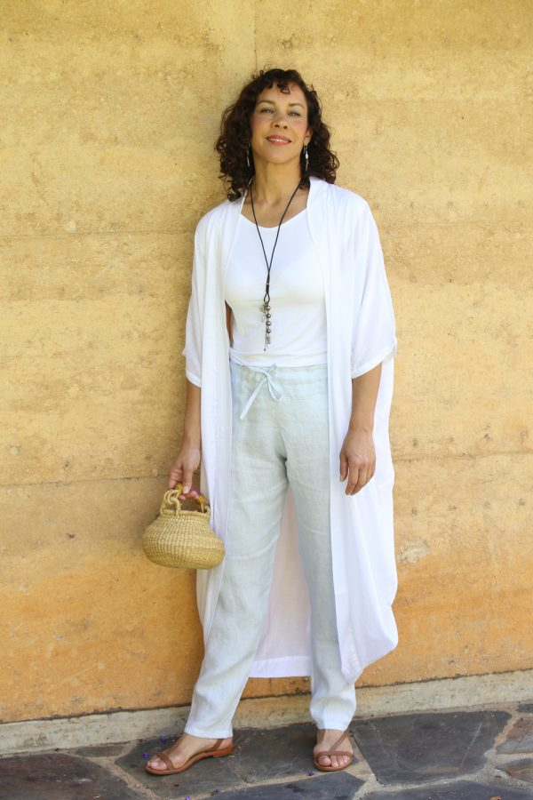 ATTITUDE Byron Long White Coat and Bamboo Top White
